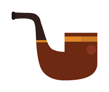 tobacco product: Vector brown smoking pipe. Vector modern flat design icon with smoking pipe. Tobacco pipe, smoking pipe isolated on white background. Gentlemans set with tobacco pipe.