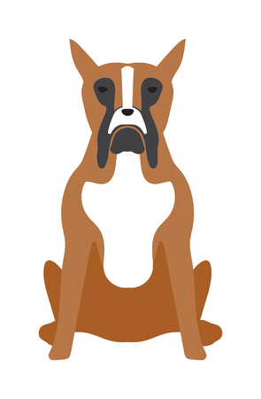 perro furioso: Angry flat dog pet and dog vector. Flat retriever dog animal vector illustration. Angry danger dog fsitting lat style Vectores