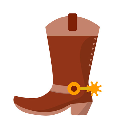 leather boots: Wild west leather cowboy boots with spurs and stars vector illustration. Boots american spur and boots spur west leather rodeo. Old traditional ranching brown boots. Retro shoe spurs fashion vector. Illustration