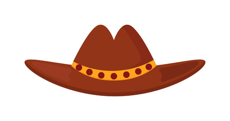 brown leather hat: Sheriffs leather cowboy hat stetson accessory and western cowboy human hat. Sheriff cowboy brown costume. Leather cowboy sheriffs leather hat stetson western traditional clothing vector illustration