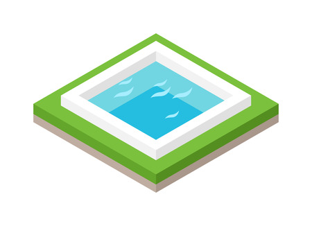 urban building: Isometric pool with blue water and isometric pool with green grass. Isometric pool modern outdoor building concept swimming landscape vector. Water pool summer isometric fun concept 3d flat vector. Illustration