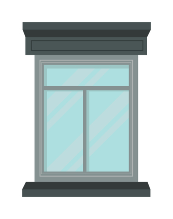 view window: House window and glass window architecture square view. Glass window vector. Window interior frame glass construction isolated flat vector illustration.