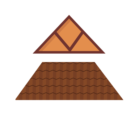 shingle: House roof exterior real property and shingle mortgage house roof estate style. Window elements attic construction tiled roof. Triangular metal house roof cartoon architecture construction vector.