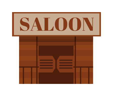 traditional house: Saloon antique cowboy building and saloon texas traditional house. Saloon western bar. Conceptual cartoon western saloon representing mix of texas and mexican cultures with doors american vector.