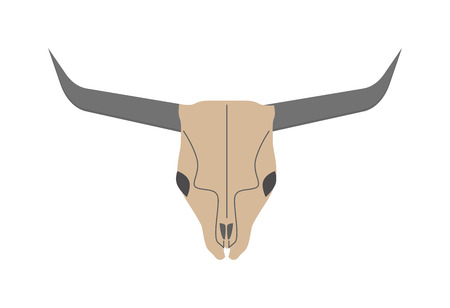 dead animal: Old bull skull western buffalo and rodeo bull skull. Skull of dead horned bull. Cow skull wild west dead head. Traditional ethnic bull skull. Animal head skull of wild bull flat vector illustration. Illustration