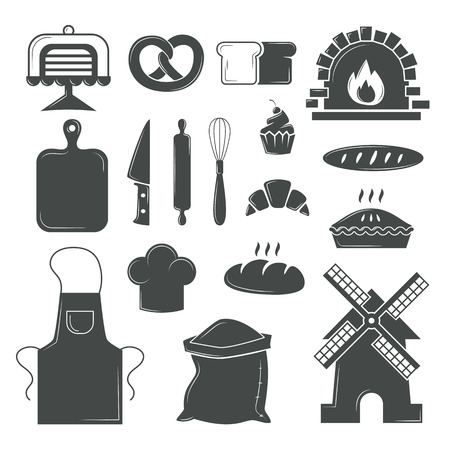 rolling bag: Bakery symbols and pastries set of vector design elements, kitchen tools, confectionery and pastry tools, bread shop bakery symbols. Set of bread products, bakery symbols, coffee shop elements vector.