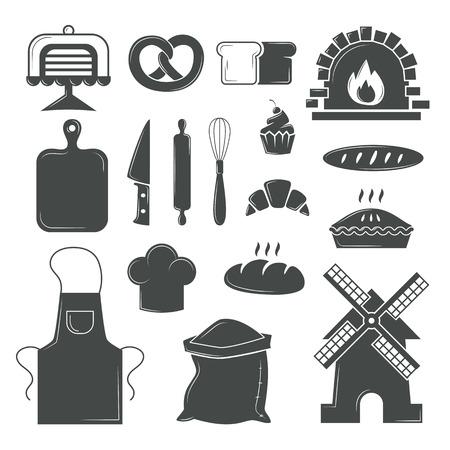 kitchen tools: Bakery symbols and pastries set of vector design elements, kitchen tools, confectionery and pastry tools, bread shop bakery symbols. Set of bread products, bakery symbols, coffee shop elements vector.