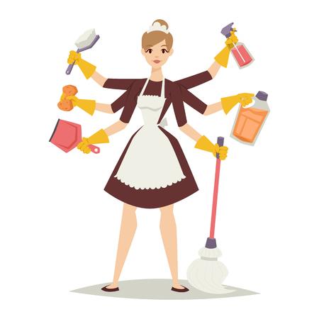 mujer limpiando: El ama de casa chica de la limpieza ama de casa y ama de casa lavado de niña bonita. El ama de casa Icono del equipo de niña y limpieza del hogar en la ilustración vectorial de estilo plano.