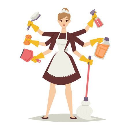 Hausfrau Reinigung und Hausfrau hübsches Mädchen waschen Hausfrau Mädchen. Hausfrau Mädchen und Ausrüstung icon home Reinigung in Vektor-Illustration flachen Stil.