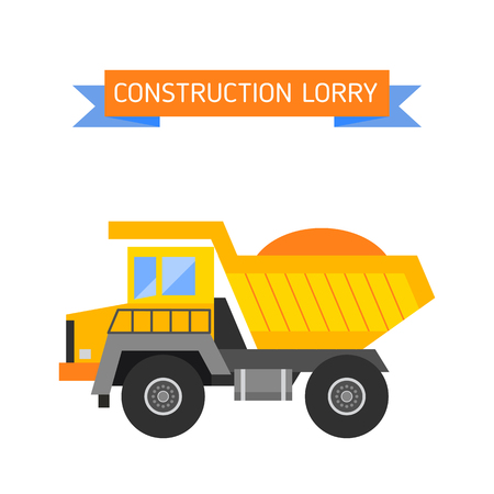haul: Delivery tipper transportation construction vehicle and road tipper machine equipment. Tipper dumper business truck transportation sand. Tipper yellow truck construction industry vector illustration. Illustration