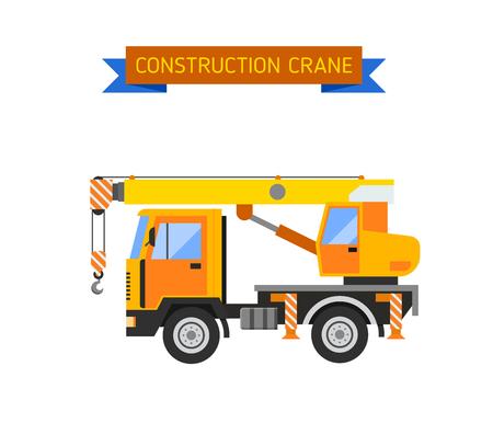 scraper: Crane van with crane for lifting goods and city construction transport crane van. Excavator crane van grader concrete scraper truck loader tow wrecker truck web infographic collection vector. Illustration