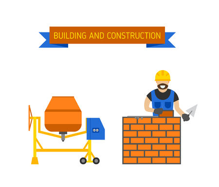plastering: Builders people in hardhats with plastering tools indoors brick wall, trowel concrete mixer. Builders people concept. Business, builders people building, teamwork professional worker vector concept.