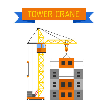 built structure: Crane urban house architecture and crane exterior house built. Construction crane lifts concrete slab construction house. Apartment block in construction with crane house industry structure vector.