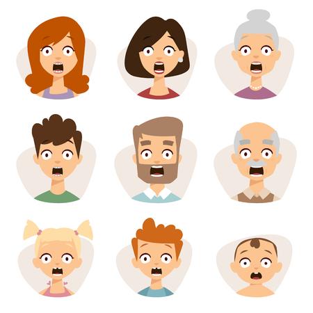 ojos tristes: Vector set bellas emoticones la cara de las personas temen avatares. Conjunto de personas de dibujos animados cabeza, las personas se enfrentan emoticonos icono. persona de dibujos animados iconos gestuales se enfrentan, las personas se enfrentan, las personas de carácter diferente del vector sexos.