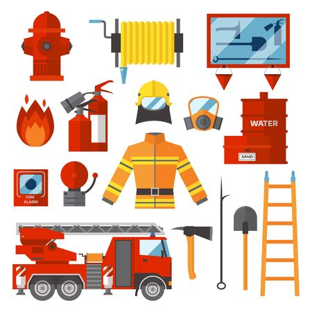 accident fire truck: Fire safety equipment and Fire safety emergency icons set. Vector Set Firefighter Fire safety Flat Icons and Symbols. Different fire office icons