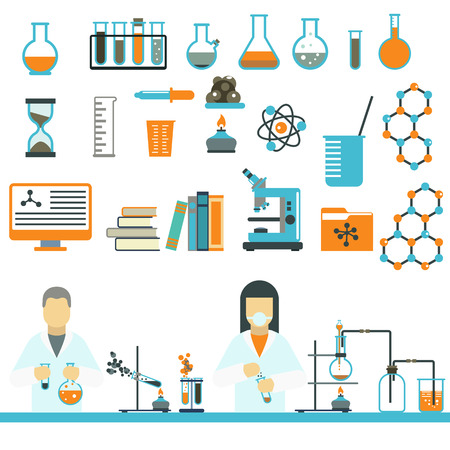 laboratory research: Laboratory symbols test medical and laboratory symbols scientific biology design. Laboratory symbols molecule microscope concept. Biotechnology. Laboratory symbols science and chemistry icons vector.