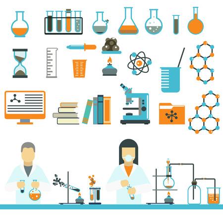 symbole chimique: symboles de laboratoire testent des symboles médicaux et de laboratoire de conception de la biologie scientifique. symboles de laboratoire molécule concept de microscope. Biotechnologie. symboles de laboratoire science et icônes de chimie vecteur.