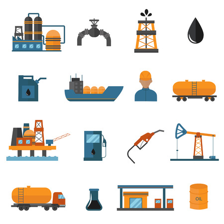 Oil gas industry manufacturing and oil gas icons for infographic. World oil gas production icons distribution and petroleum extraction rate business infochart diagram report vector.