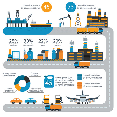 oil and gas industry: Oil gas industry manufacturing and oil gas infographic. World oil gas production infographic distribution and petroleum extraction rate business infochart diagram report presentation design vector.