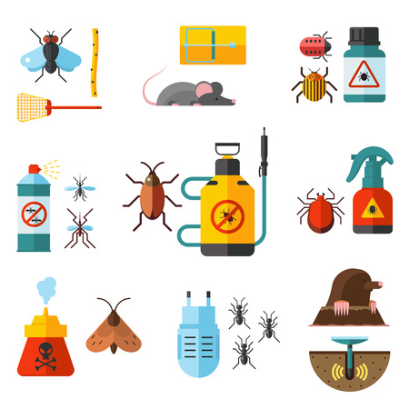 vermin: Home pest control expert exterminator service flat icons set with rat and cockroach abstract isolated vector illustration Home pests, vermin