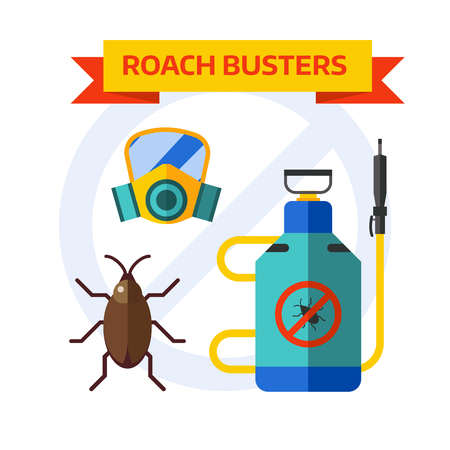 pest control: Home insects house protection and home insects control equipment. Home insects termite insecticide. Pesticide nature sprayer vector icons. Pest control worker spraying pesticides home insects vector.