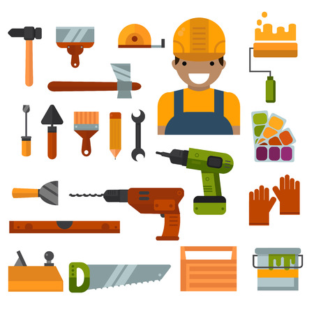 power tools: Set of worker home repair tools flat icons. House tool industry. Building, home repair and decoration works tools vector. Home repair tools construction and power tools hand tools for home repair work