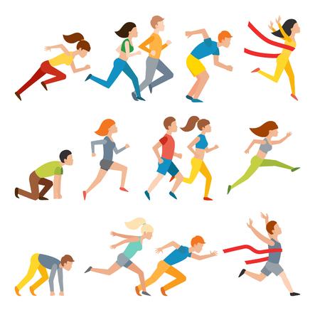 sprinting: Athletic attractive run man people jogging in summer sport shorts enjoying runner exercising their healthy lifestyle. Multiethnic run man. Young couple group running marathon run man sprinting vector. Illustration