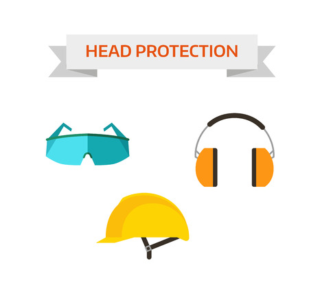 personal protective equipment: Head protection safety equipment helmet and industry head protection. Head protection build mask. Industrial protective workwear head protection includes hard hat, safety glasses, headphones vector.