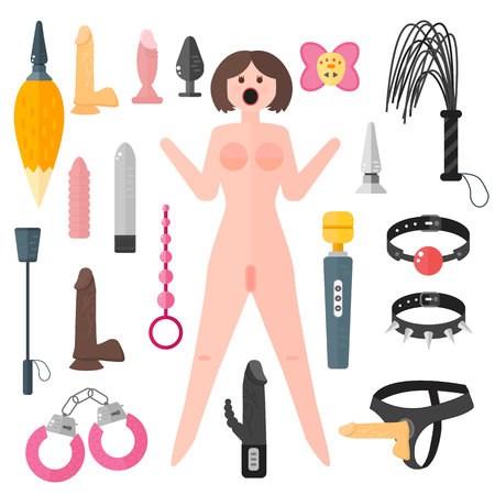 Juguetes sexuales amor erótico y manillas de goma masturbación muñeca del sexo. Juguetes sexuales emoción herramientas, muñeca del sexo corazón roto amigo relación. Set Juguetes sexuales para adultos y muñeca del sexo pasion siluetas vector.