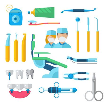 chirurgo: Strumentazione del dentista strumenti di igiene e strumenti clinica dentista. Strumenti del dentista strumento chirurgo. Dentali medici accessori ortodontici. strumenti odontoiatrici piatto, di cui dentista strumenti concetto di illustrazione vettoriale. Vettoriali