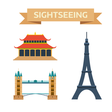 london tower bridge: Paris, London, China europe famous travel. Paris, London, China sightseeing culture. Sightseeing eiffel tower Paris, London bridge, China summer imperial palace traditional history landmark vector. Illustration
