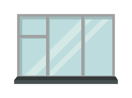 window view: House window and glass window architecture square view. Glass window vector. Window interior frame glass construction isolated flat vector illustration.