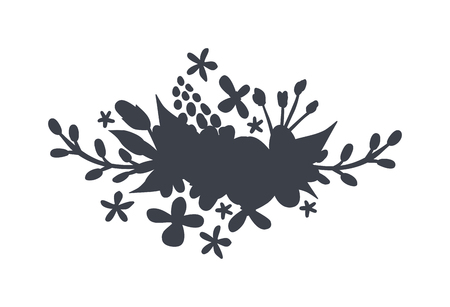 black wreath: Spring black wreath frame and vintage spring wreath silhouette design. Vector circular floral wreaths with leaves central space for your text.