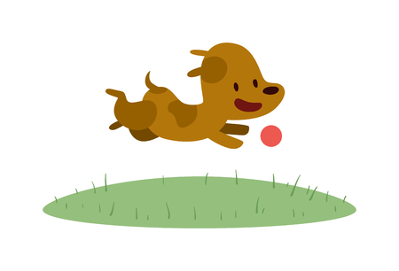 doggy: Vector Doggy play with red ball. Cartoon funny doggy play with ball isolated on white background. Doggy play and running. Cute puppy playing. Little brown Doggy play with ball.