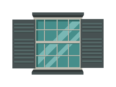 window view: Open wood house window and glass window architecture square view. Open glass window vector. Window open interior frame glass construction isolated flat vector illustration.