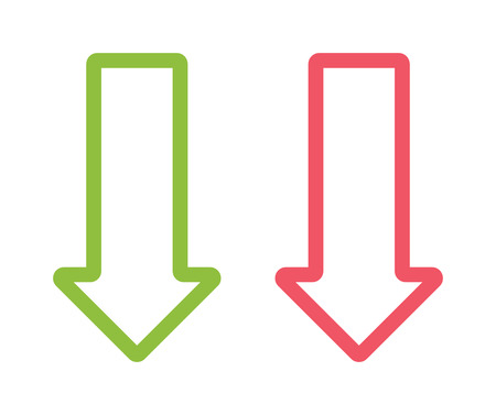 orientation: Red and green arrow sign design, arrow orientation link download play symbols. arrow orientation sign. Arrow two colored sign next direction vector illustration icon isolated.