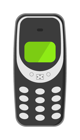 gsm phone: Old vintage keypad mobile phone and icon of old classic mobile phone antique vector. Old style mobile phone technology retro cellphone vector illustration.