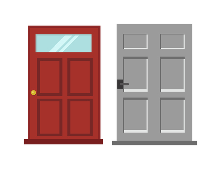 entrance door: Wood interior door isolated entry and doorway house exit vertical style isolated. Wood two red and gray elegant entrance door architecture elements. Home doors symbols for design