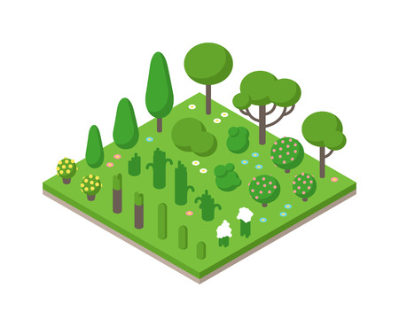 Isometric tree forest set and isometric design tree garden plant vector. Isometric tree forest 3d. Isometric vector green tree set on white background illustration. Green isometric forest flat style 向量圖像