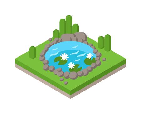 Relajarse en el estanque isométrica en el parque de bosque y un estanque paisaje río entorno isométrica colección gráfica vectorial. isométrica estanque al aire libre concepto de vacaciones infografía Web 3d plana. isométrica del agua y el árbol Ilustración de vector