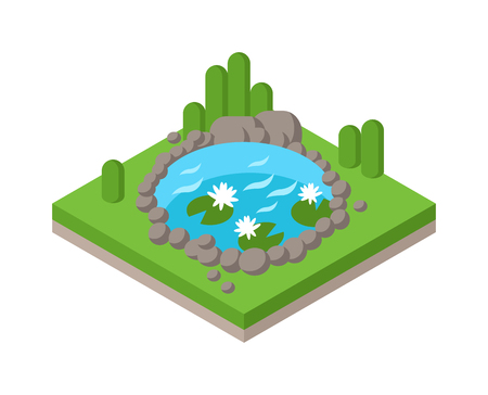 Rilassatevi presso il laghetto isometrica in parco foresta e stagno paesaggio fluviale ambiente isometrica collezione grafica vettoriale. Piatto 3d isometrico stagno vacanza all'aperto concetto di web infografica. acqua isometrica e albero Vettoriali