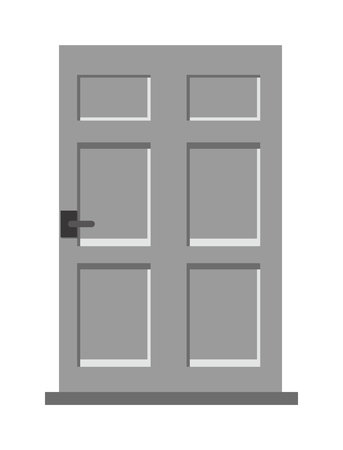entrance door: Wood interior door isolated entry and doorway house exit vertical style isolated. Wood elegant entrance door architecture elements. Home doors symbols for design Illustration