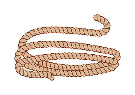 spiral cord: Ship rope tied with knot thread twisted and strand strong brown rope cartoon  vector icon. Hemp three strand rope coiled in a circular pattern isolated on white background. Illustration