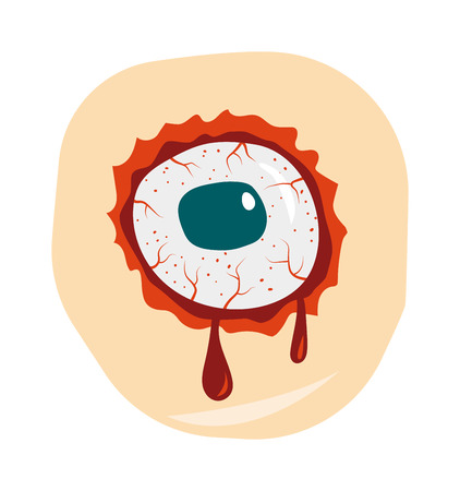 nightmare: Bloodshot green blue eyeball zombie monster and zombie danger eye nightmare vector. Halloween zombie eye. Cartoon doodle zombie eyes demon blood vector illustration. Illustration