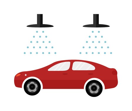 foaming: Carwash automatic service business symbol and dirty car wash garage service. Automatic car wash facilities innovative self service car foaming brush unit equipment. Car flat icon vector and water splash