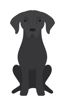 Labrador mascota perro labrador y el icono del vector del perro negro. Negro de Labrador retriever perro animal doméstico ilustración vectorial.