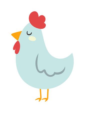 Cartoon chicken character and nice cartoon chicken farm bird vector. Cool cartoon chicken illustration. Farm chicken white bird isolated on white. Chuck cartoon bird with red hat Illustration