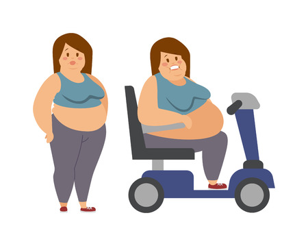 sister: Cartoon character of fat woman and fat woman sitting, dieting fitness. Fat woman standing next to her fat sister cartoon vector flat illustration.