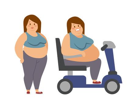 mujeres gordas: personaje de dibujos animados de la mujer gorda y una mujer gorda sentada, la dieta de la aptitud. Mujer gorda de pie junto a su hermana de grasa caricatura ilustración vectorial plana.
