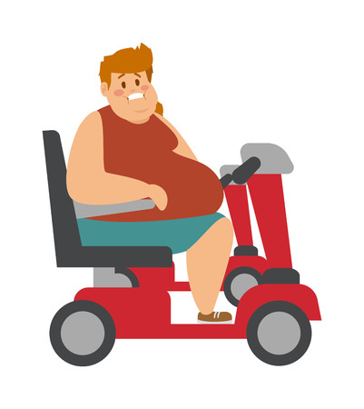 tight body: Concept fitness weight loss fat man and thin sports guy, fatman on a diet with fat people transportation truck. Fat man on trolley for fat people next to thin, athletic man cartoon character vector.